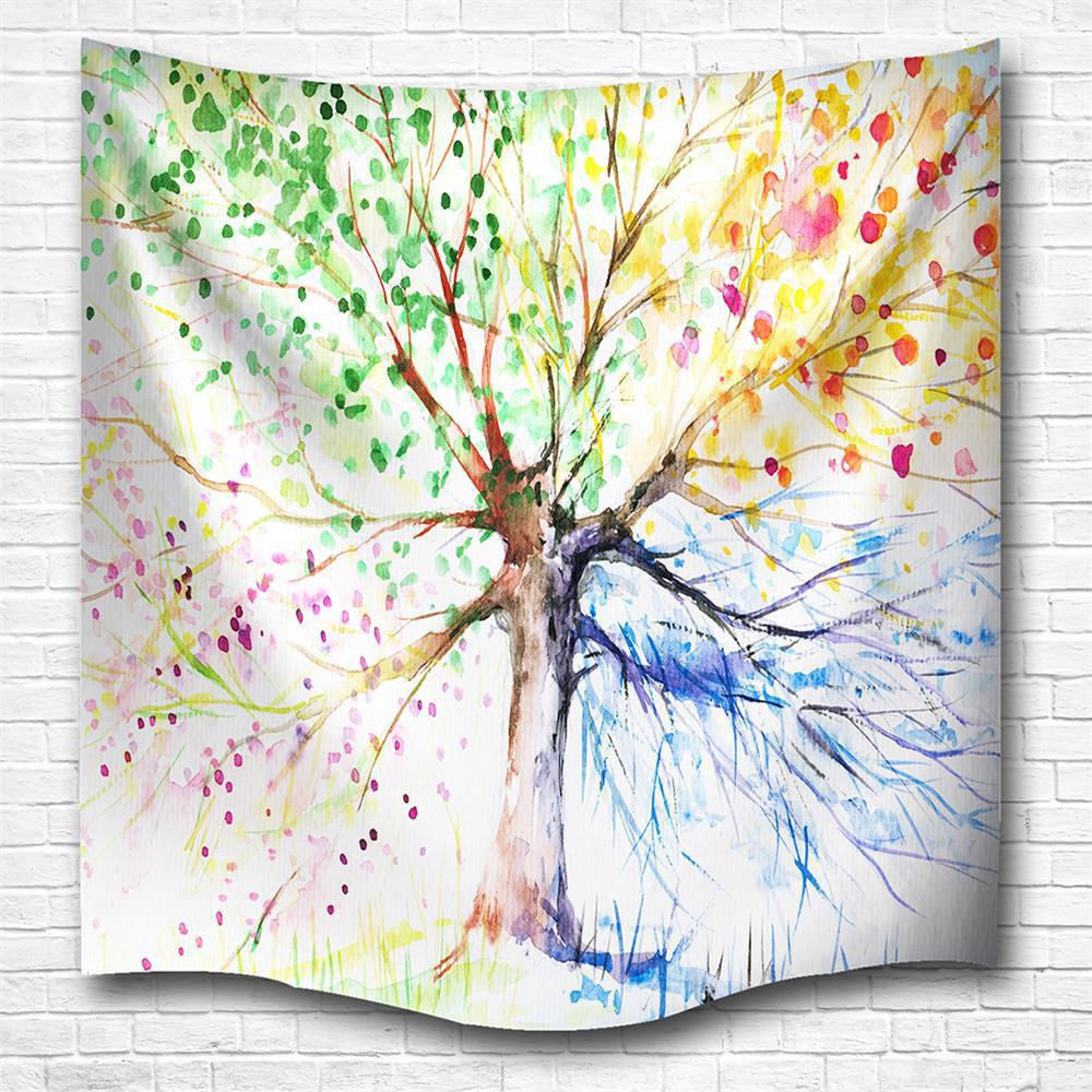 Store Multicolor Tree 3D Digital Printing Home Wall Hanging Nature Art Fabric Tapestry for Bedroom Living Room Decorations