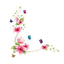 Butterfly Flower Vine Wall Art Sticker for Home Decoration Removable Decals