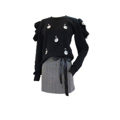 Hot Lovely Black Fungus Lace Embroidery Knit Sweater