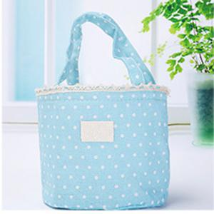 Lunch Bag Likable Sweet Polka Dots Pattern Canvas Portable Bag -