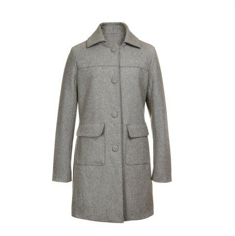 Shop Turn Down Collar Long Women Peacoat