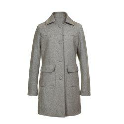 Turn Down Collar Long Women Peacoat -