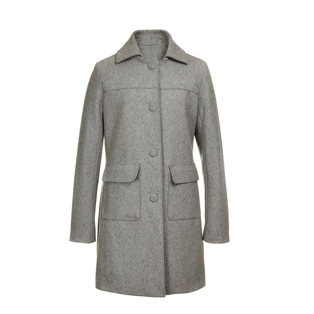 Outfit Turn Down Collar Long Women Peacoat