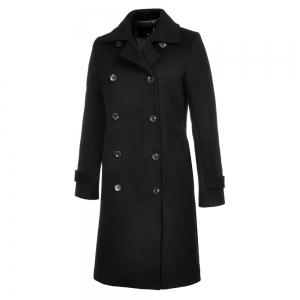 Long Sleeve Notched Collar Solid Women Coat -