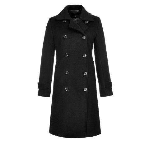 Online Long Sleeve Notched Collar Solid Women Coat