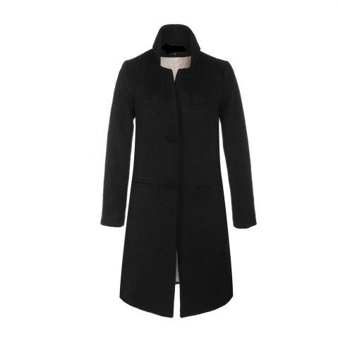 Latest Single Breasted Solid Long Sleeve Thicken Women Coat
