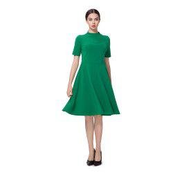 Fresh Green High Neck Back Zipper Midi Dress -