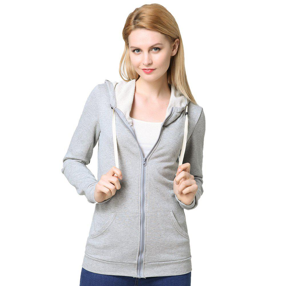 Sale Women's Elastic Cuffs Long Sleeve Slim Hoodie