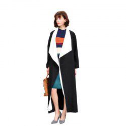 Women's Long Sleeve Colorblock Open Front Coat -