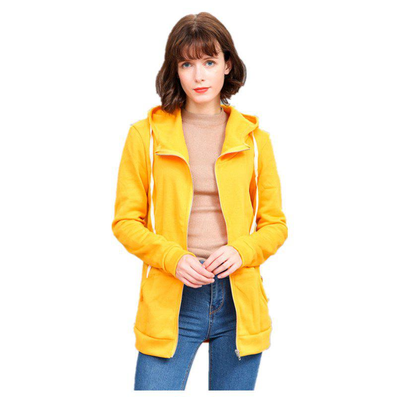 Buy Women's Solid Color All Match Slim Hoodie