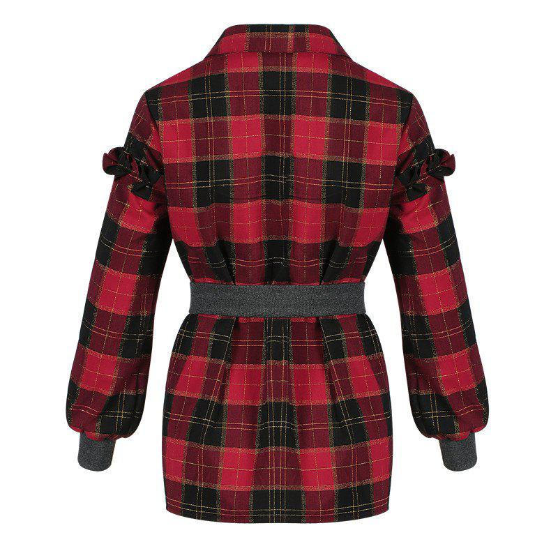 New Women's Shirt Turn Down Collar Long Sleeve Plaid Pattern Casual Top