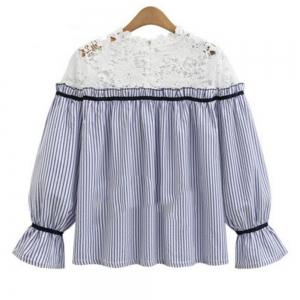 Plus Size Striped Long Sleeved Shirt -