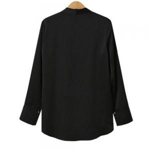 Plus Size Irregular Chiffon V Collar Long Sleeved Shirt -