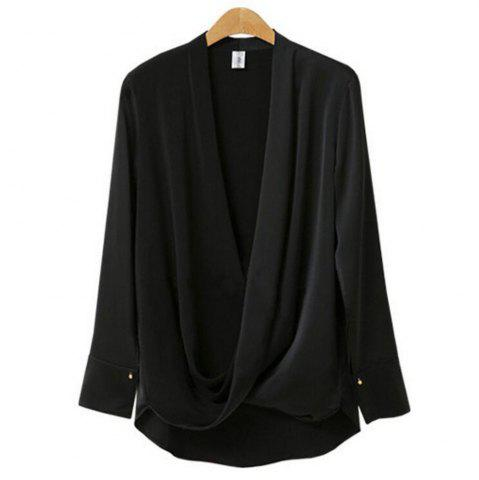 Discount Plus Size Irregular Chiffon V Collar Long Sleeved Shirt
