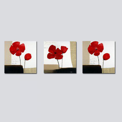 Cheap QiaoJiaHuaYuan No Frame Canvas Living Room Sofa Background Triplet Abstract red Flower Decoration Hanging Picture