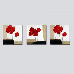 QiaoJiaHuaYuan No Frame Canvas Living Room Sofa Background Triplet Abstract red Flower Decoration Hanging Picture -