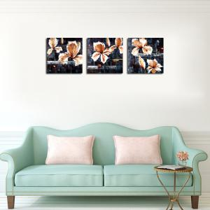 QiaoJiaHuaYuan No Frame Canvas Living Room Sofa Background Triplet Picture Abstract Flower -