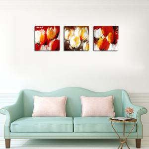 QiaoJiaHuaYuan No Frame Canvas Living Room Sofa Background Triplet Picture Plant Abstract Flower Decoration Hanging Pict -