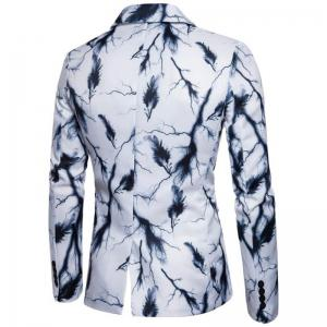 Men's Casual Suits Long Sleeve Turndown Collar Leaf Print Blazer -