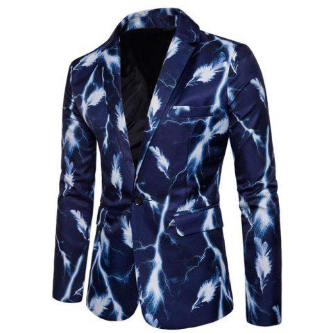 Outfits Men's Casual Suits Long Sleeve Turndown Collar Leaf Print Blazer