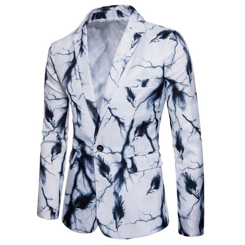 Cheap Men's Casual Suits Long Sleeve Turndown Collar Leaf Print Blazer
