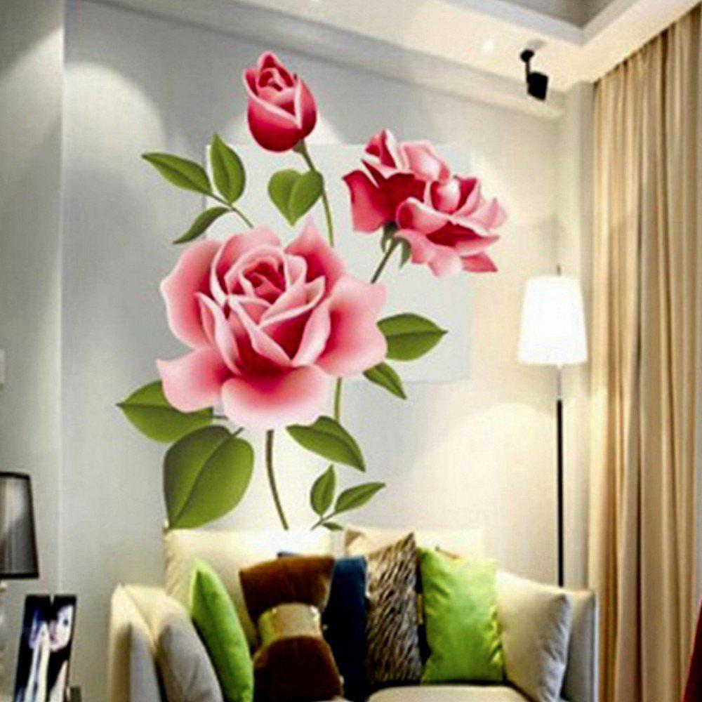 Discount 3D Rose Flower Romantic Love Wall Sticker Removable Decal Home  Decor Living Room Bed Decals