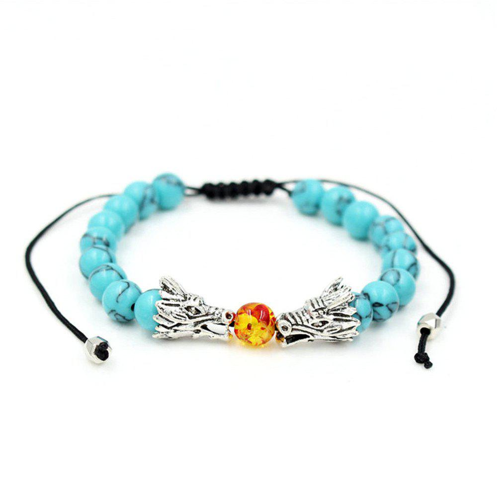 Chinese Style Natural Stone Beaded Jewelry Silver Color Dragon Charm Braided Macrame Bracelet