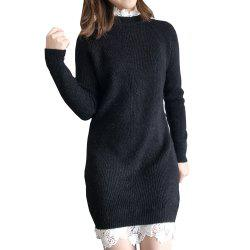 Lace Long Knit Sweater Dress -