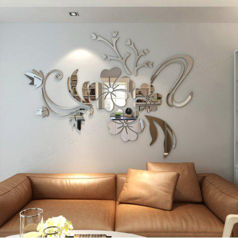 38 3D Stereo Flower Wall Mirror Stickers