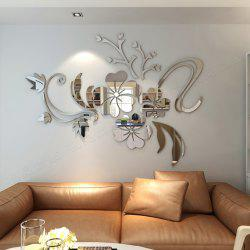 3D Stereo Flower Wall Mirror Wall Stickers -