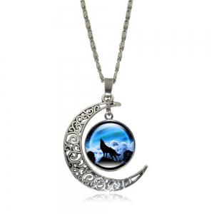 Wolf Totem Gem Necklace Earrings Set -