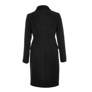 Fashion Notched Collar Long Sleeve Women Solid Winter Coat -