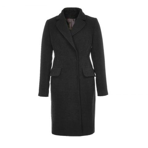 Discount Fashion Notched Collar Long Sleeve Women Solid Winter Coat