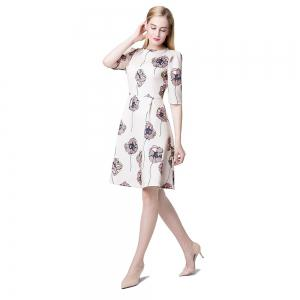 Floral Print Half Sleeve A-line Dress For Women -