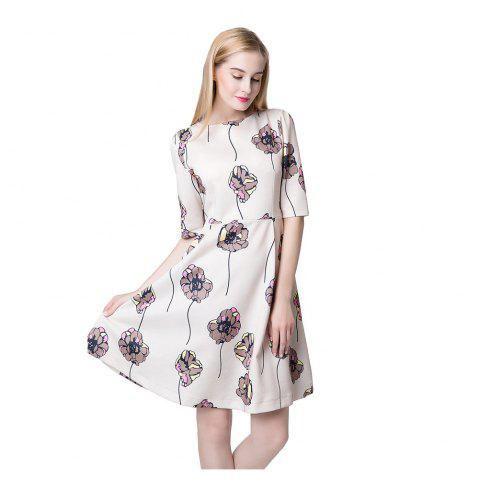 Unique Floral Print Half Sleeve A-line Dress For Women