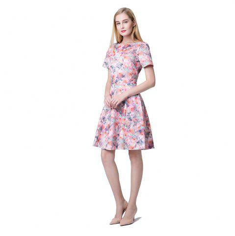 Discount Short Sleeve Slim A-line Floral Dress