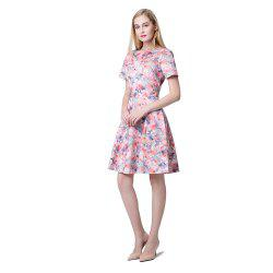 Short Sleeve Slim A-line Floral Dress -