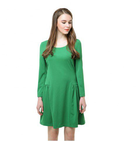 Fashion Long Sleeve A Line Fashion Green Dress