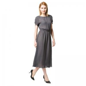 Batwing Sleeve Grey O Neck Maxi Long Dress -
