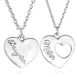 2 Pcs Women's Fashion Necklaces Brief Style Hollowed Out Heart Shaped Accessory -