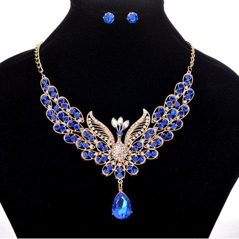 Affordable Women Girls Diamond Peacock Pendant Necklace Earrings Set Bride Fine Jewelry Gifts