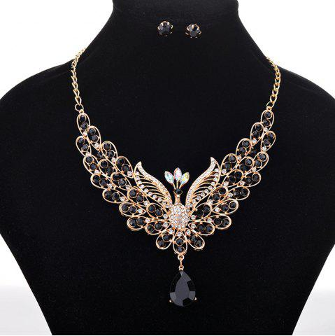 Online Women Girls Diamond Peacock Pendant Necklace Earrings Set Bride Fine Jewelry Gifts
