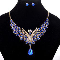 Women Girls Diamond Peacock Pendant Necklace Earrings Set Bride Fine Jewelry Gifts -