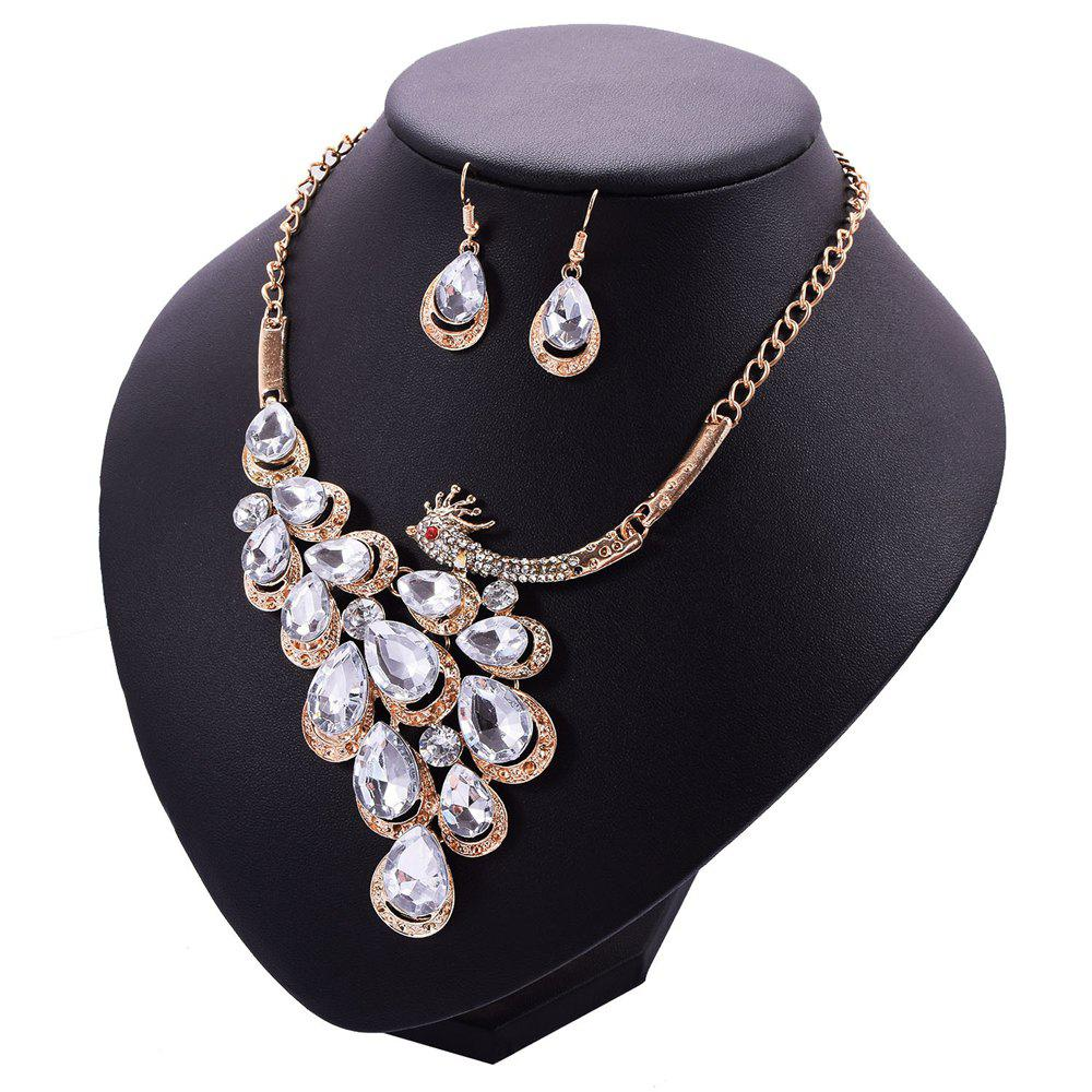 Store Women Girls Diamond Peacock Pendant Necklace Drop Earrings Set Bride Fashion Jewelry