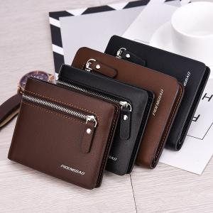 Men's Short Section Leather Wallet Zipper Male Multi-Card Package -