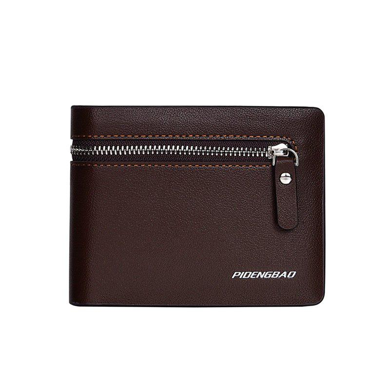 Affordable Men's Short Section Leather Wallet Zipper Male Multi-Card Package