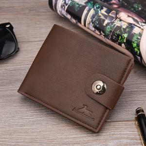 New Men's Wallet Short Korean Button Fashion Casual Classic Purses -