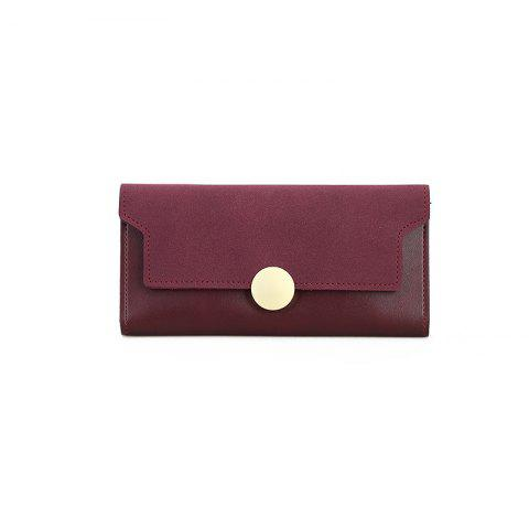 Cheap The New Female Long Simple Hand Splicing Three Fold Buckle Wallet