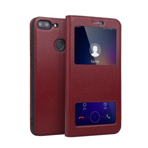 Chic Case for Huawei Honor 9 Lite Geniune Leather Cowhide Dual Window Shell Cover