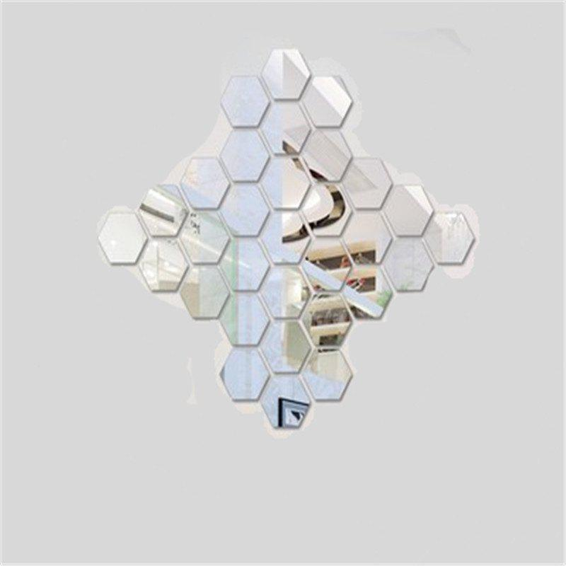Hexagonal Mirror Wall Sticker Background Walls Decorated Crystal Mirrors Three Dimensional Honeycomb Style